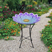 Peaktop Handpainted Flower Fusion Glass Birdbath, Purple and Light Blue