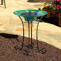 Smart Solar Argus Peacock Glass Solar Birdbath With Patented Underwater Integral Solar Panel and Pump System