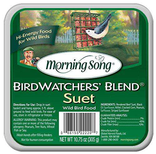 Morning Song Birdwatchers Blend Suet 10.75-Ounce - World of Birdhouses