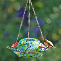 Wild Wing Spring Rain Illuminated Hummingbird Dish Feeder Blue