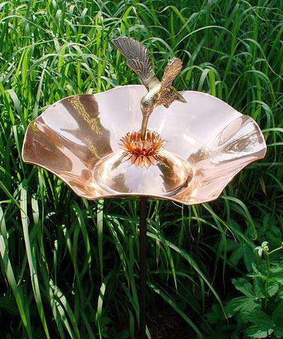 Achla Hummingbird Bird Bath and Stake, Copper🚛