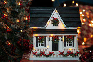 Holiday birdhouse, Christmas lights on birdhouse