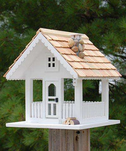 Home Bazaar Fly-Thru Bird Feeder, White - World of Birdhouses