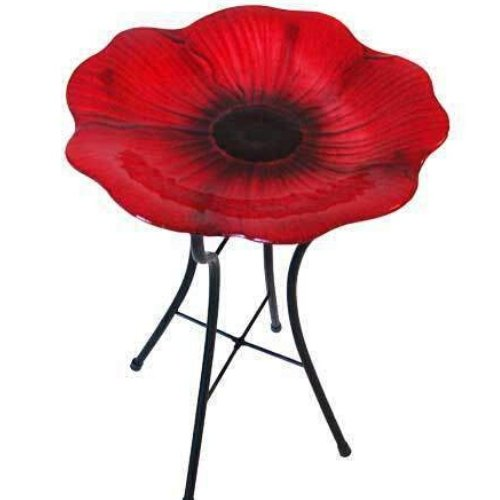 Panacea Decorative Glass Bird Bath and Stand, Poppy - World of Birdhouses