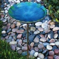 Evergreen Blue Sea Glass Bird Bath with Metal Stake