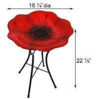 Panacea Decorative Glass Bird Bath and Stand, Poppy