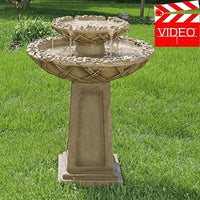 Sunnydaze Beveled Flower 2-Tier Birdbath Water Fountain🚚