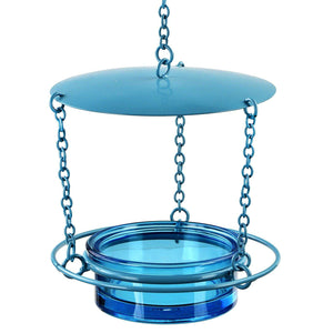Couronne Recycled Glass & Metal Hanging Bird Feeder/Aqua♻️