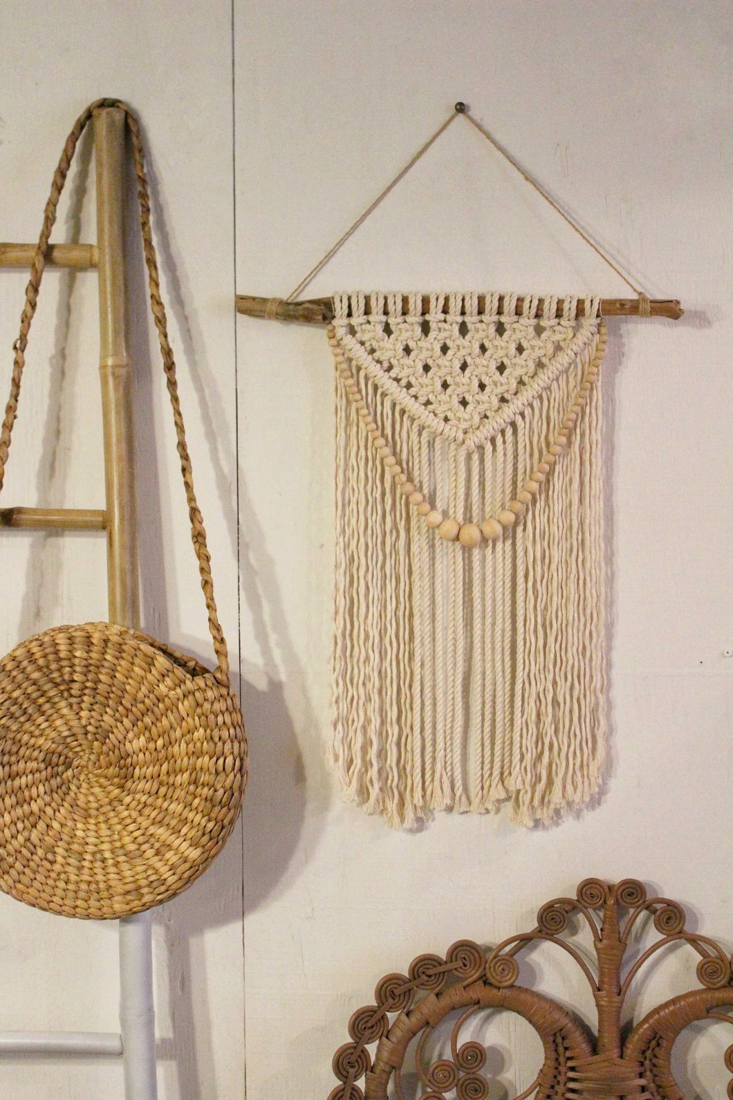 Beaded Natural Macrame Hanging