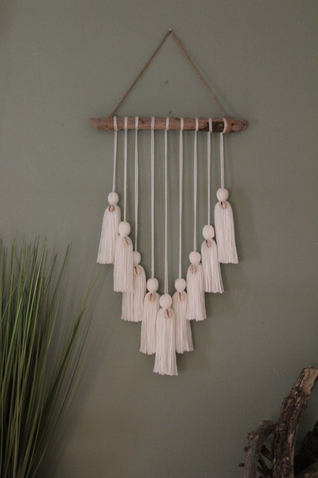Mini White Cowrie Shell Wall Hanging