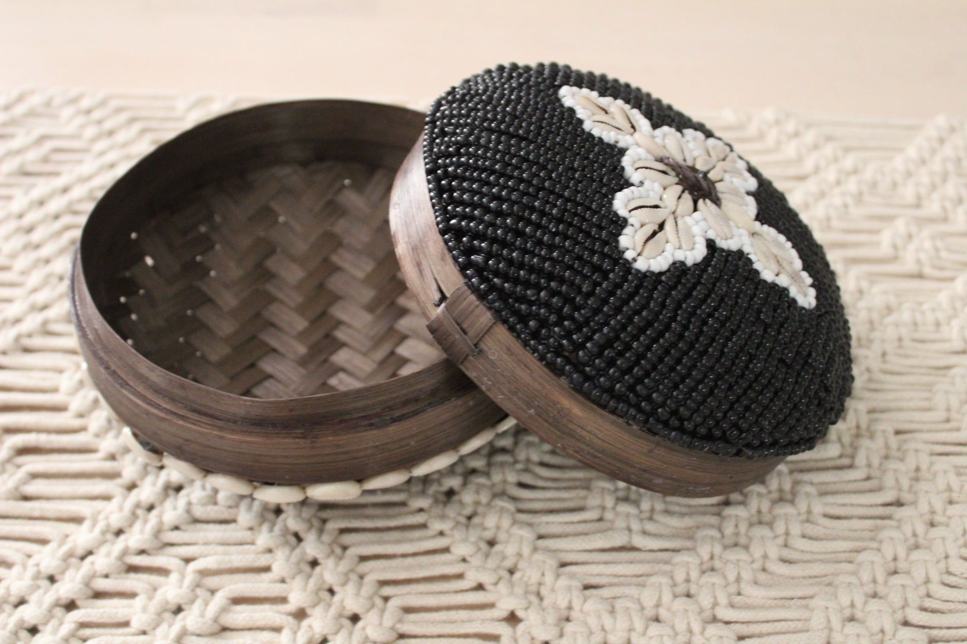 Beaded Tribal Round Bamboo Basket