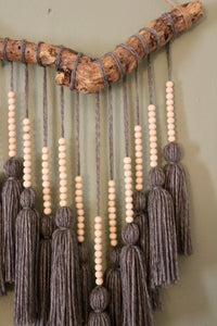 """Leha"" Beaded Gray Tassel Hanging"