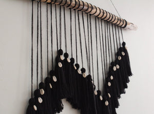Black Tassel Puka Shell Wall Hanging