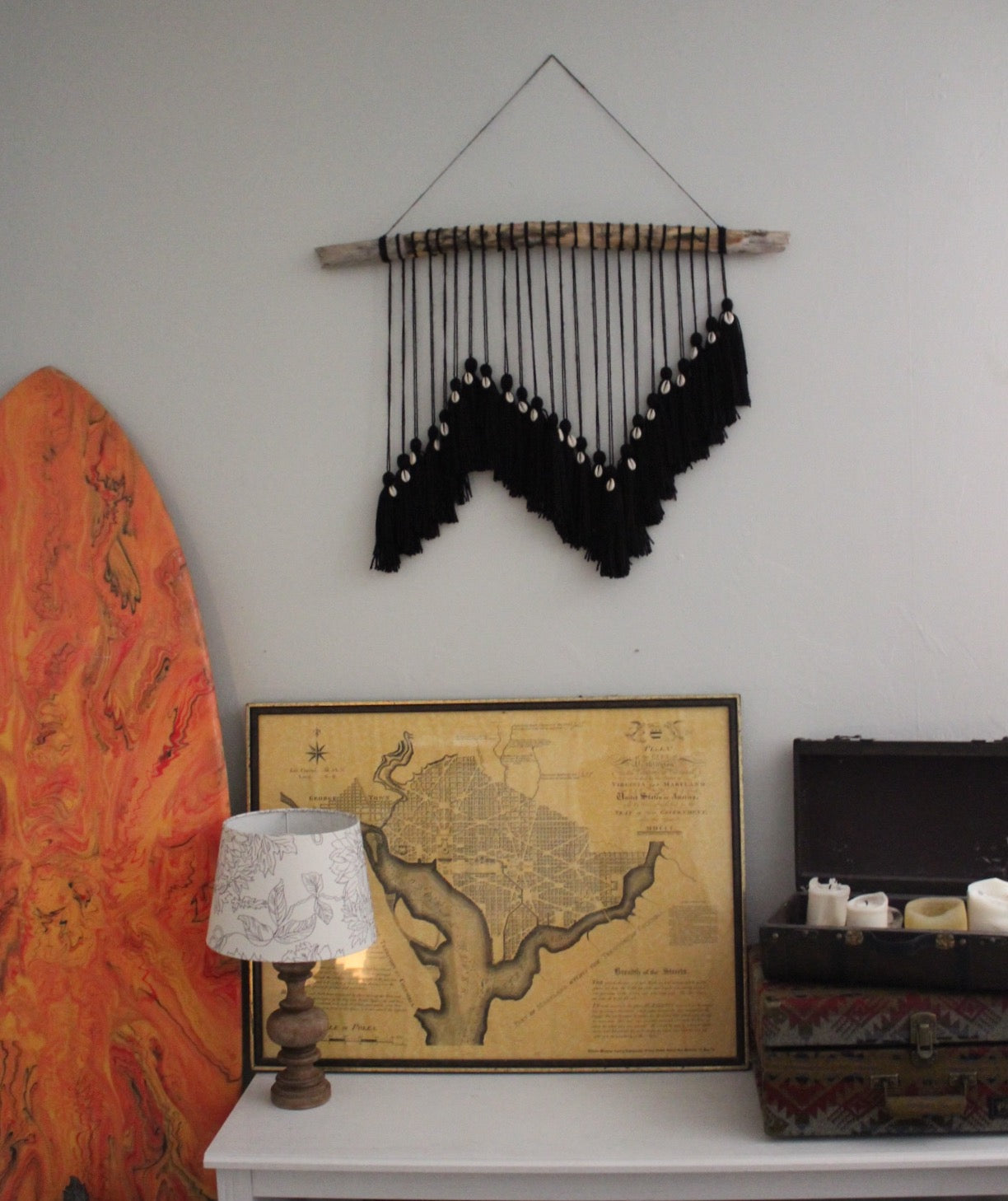 Black Tassel Cowrie Shell Wall Hanging