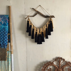 Black & Beige Beaded Tassel Hanging