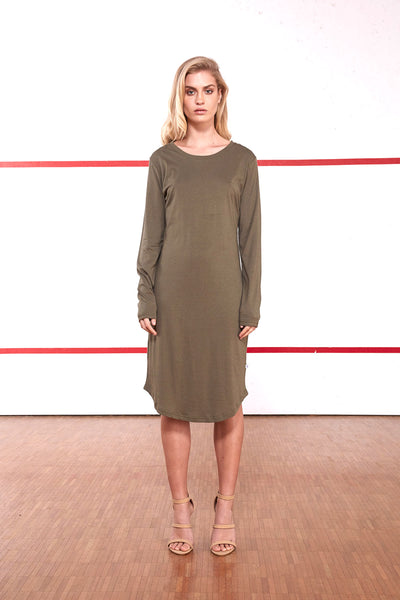 Asymmetrical Hem Long Sleeve Tee Dress