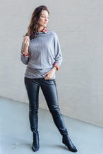 BATTY MEL LONG TOP GREY RIB