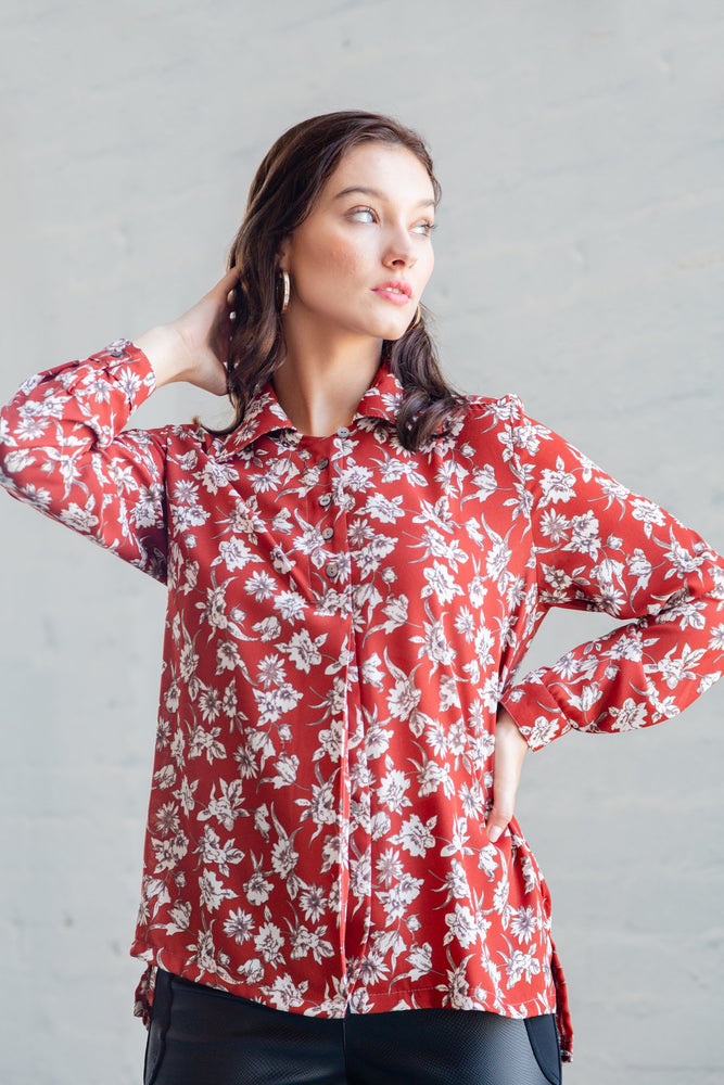 DENISSE BLOUSE RUST FLORAL