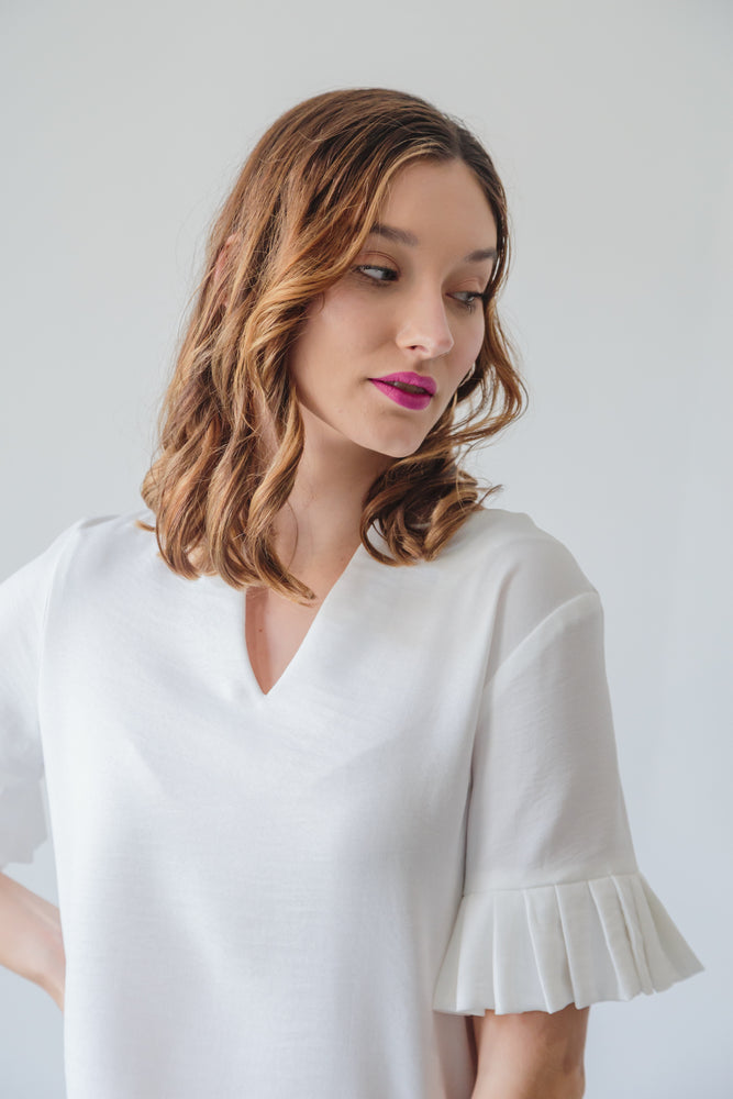 AMARILLA TOP V-NECK IVORY