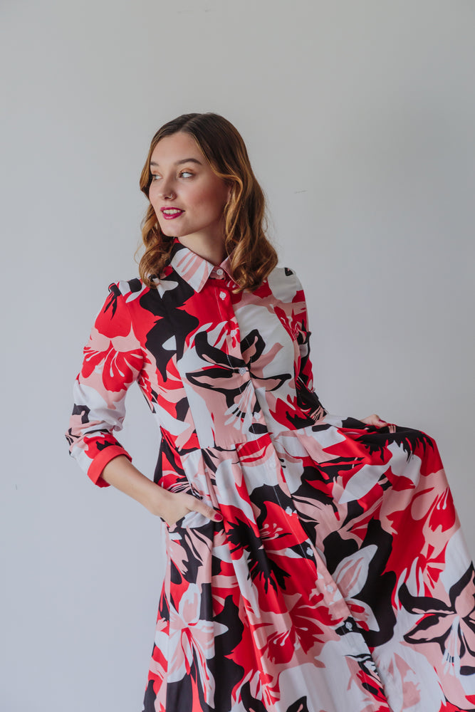 DELILAH DRESS RED FLORAL