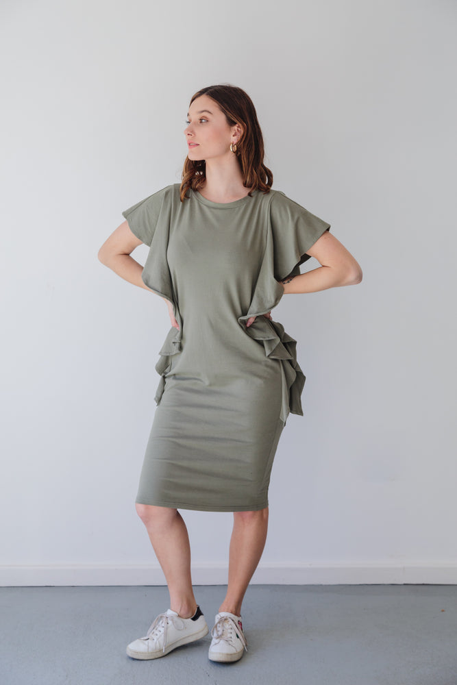 FRILLY FRED DRESS KHAKI