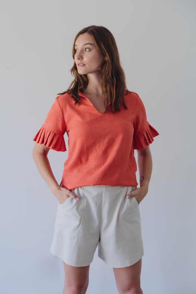 AMARILLA TOP V-NECK CORAL