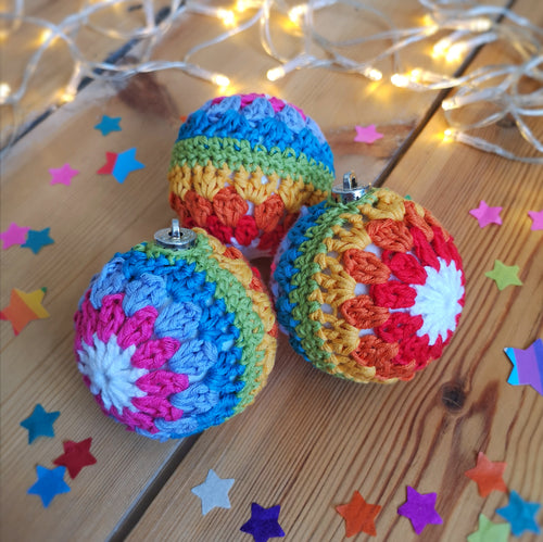 Crochet rainbow stripe bauble.