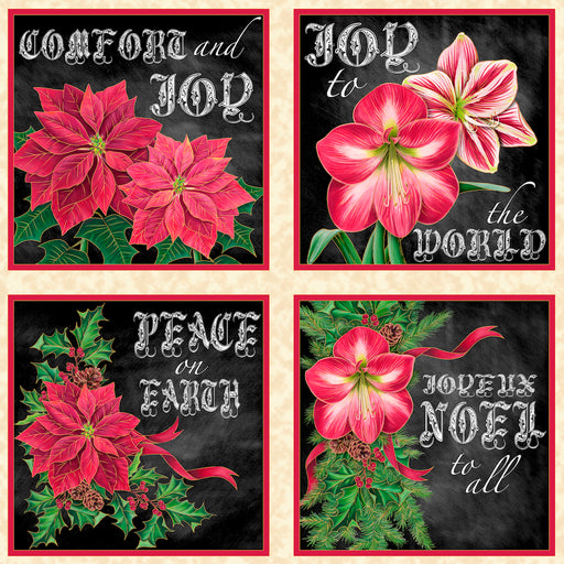 Joy to the World (Metallic) Poinsettia Picture Patches 24488-EJ Cream/Black