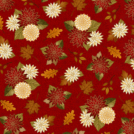 Harvest Greetings - Chrysanthemums 25821-R Brick