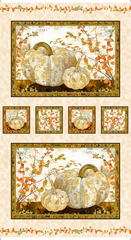 Autumn Shimmer Pumpkin Picture Panel 26538-E Cream