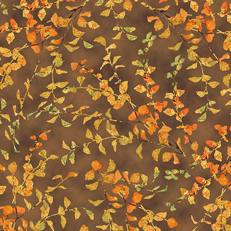Autumn Shimmer Leaf Branch 26540-A Brown