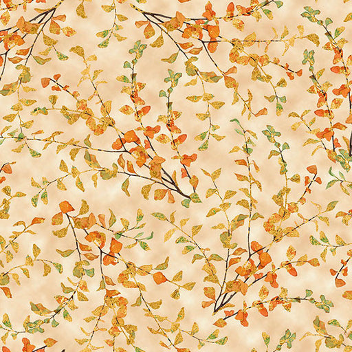Autumn Shimmer Leaf Branch 26540-E Dark Cream