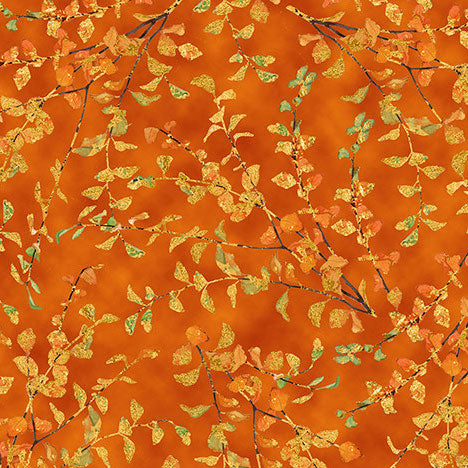 Autumn Shimmer Leaf Branch 26540-O Orange