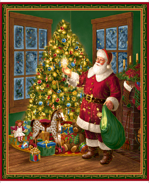 Christmas Eve - Santa & Christmas Tree Panel 26625-X Multi Metallic