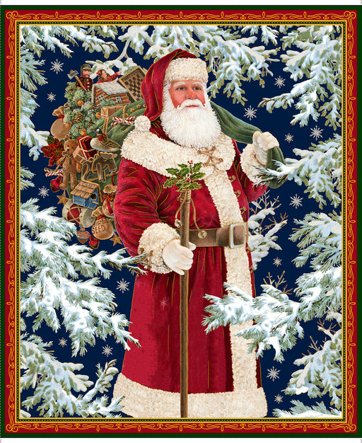 Christmas Eve - Vintage Santa Panel 26626-X Multi Metallic