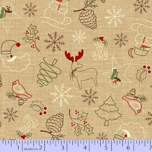 Wrapped In Joy Tossed Christmas Items 2782-0166 Tan