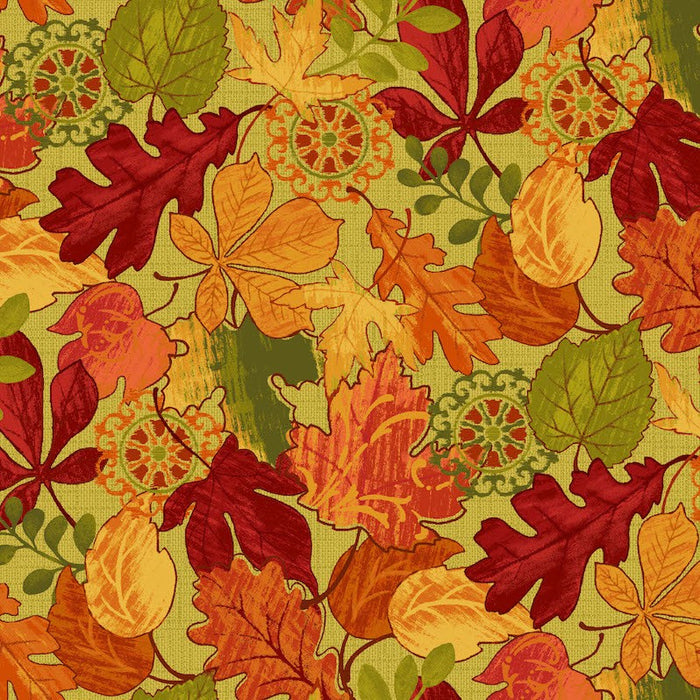 Autumn Abundance Leaves 3337-66 Red