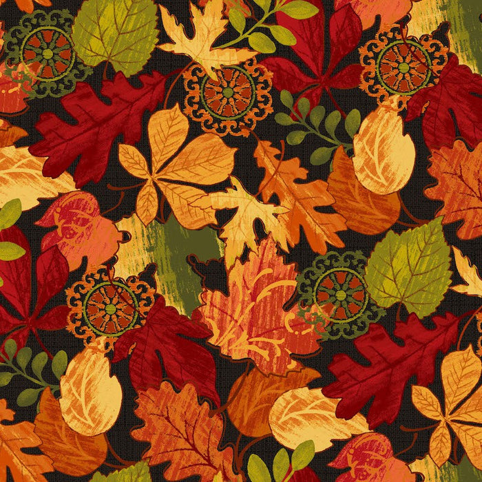 Autumn Abundance Leaves 3337-99 Black