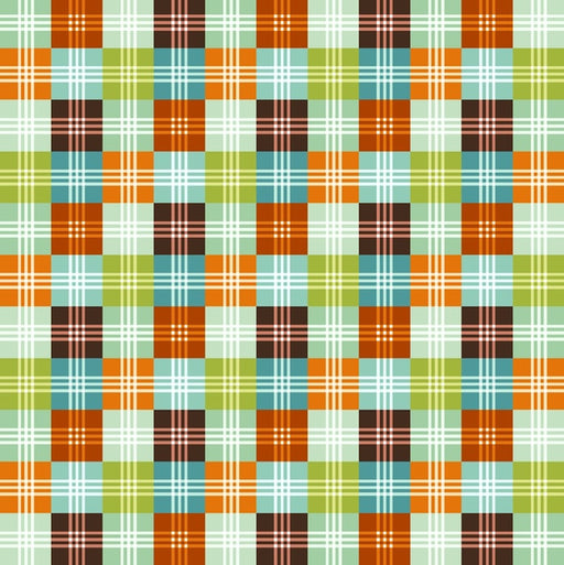 Dino-riffic Geo Plaid 3402-31 Orange/Teal
