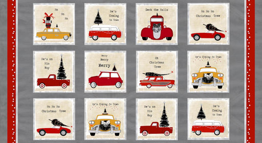 Around Town Christmas - Block Panel 3711P-48 Red/Beige