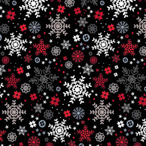 Snow Delightful - Snowflakes 3858-99 Black