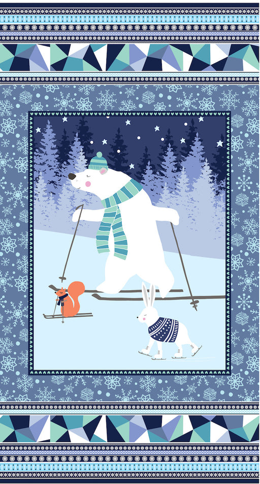 "Snow Happy - 24"" Panel 4181P-71 Blue"