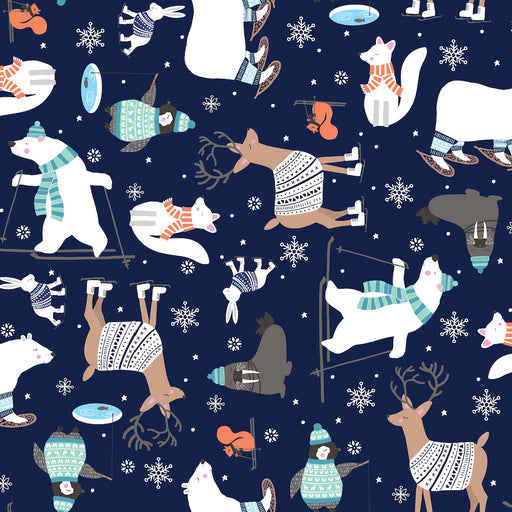 Snow Happy - Four-Way Multi Animals 4183-77 Navy