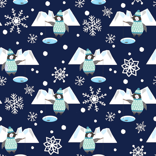 Snow Happy - Fishing Penguins 4185-77 Navy