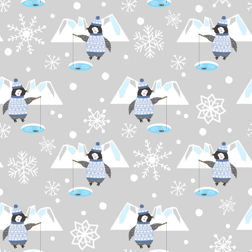 Snow Happy - Fishing Penguins 4185-90 Light Gray