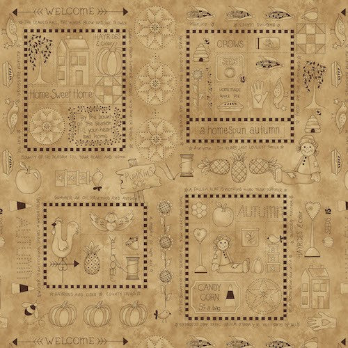 A Vintage Autumn Blocks With Fall Motifs 8099-45 Tan