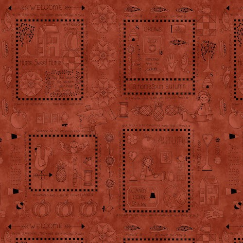 A Vintage Autumn Blocks With Fall Motifs 8099-80 Rust