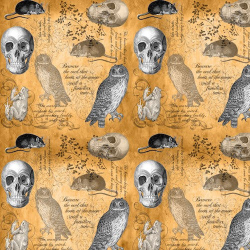 All Hallows Eve Skulls, Owls, Mice, Frogs With Text 8123-33 Orange