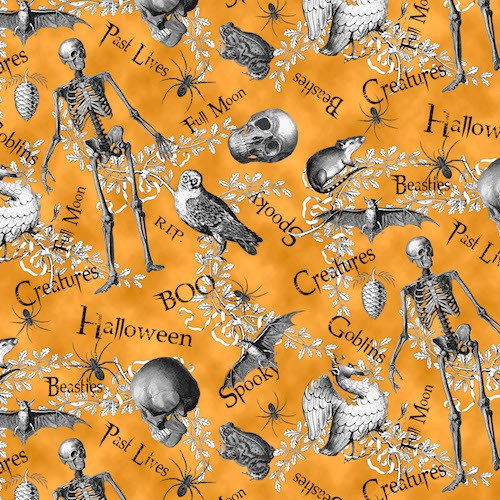 All Hallows Eve Halloween Motifs With Words 8128-33 Orange