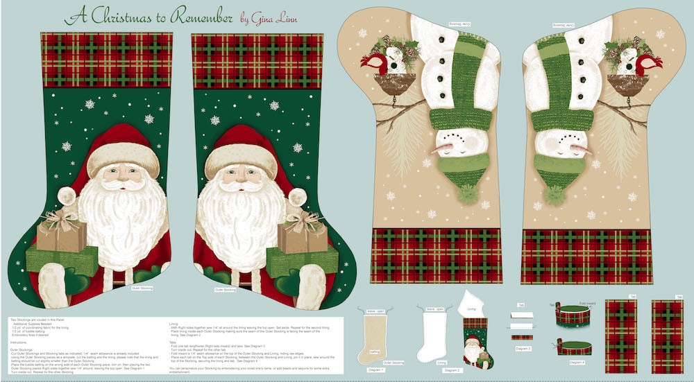 A Christmas To Remember Stockings Panel 8153P-11 Light Blue